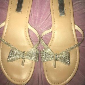 INC beaded bow sandals